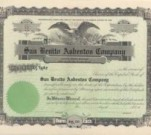 Share certificate from San Benitto Asbestos Company